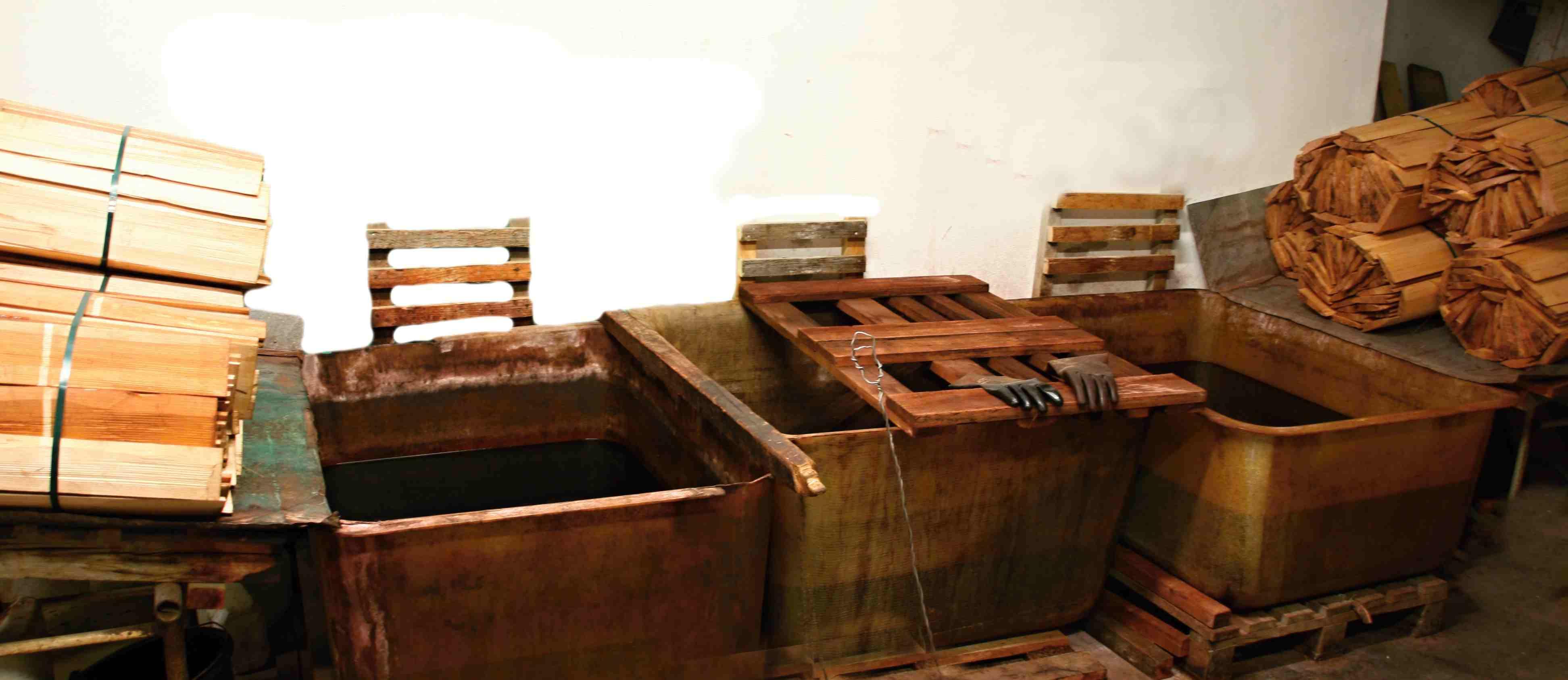 Impregnace máčením dřevěný Valašský šindel, drdlík