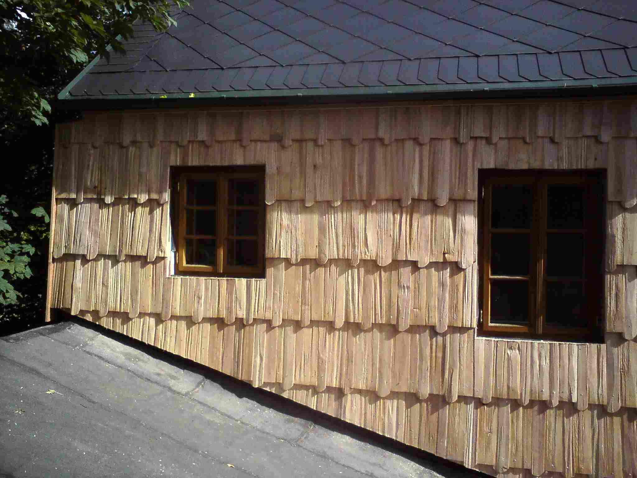 Drdlík- obložení stěn dřevěnými šindeli