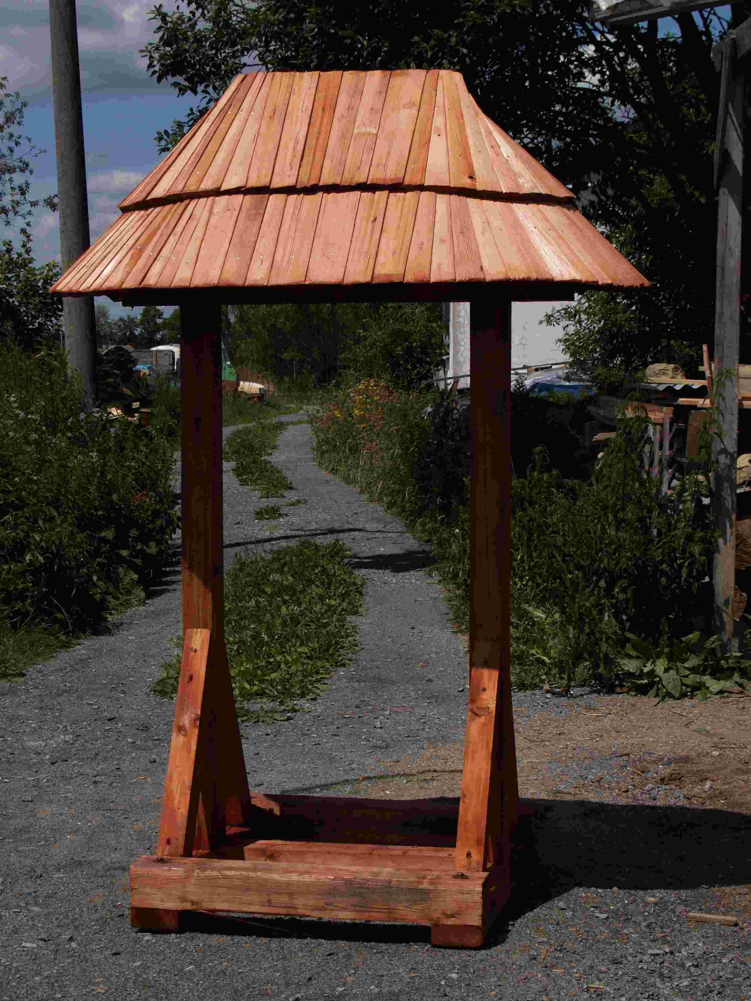 drdlik-production of a signpost with a shingle roof, Wallachian shingles
