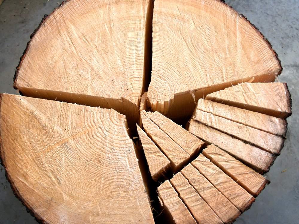 Postup štípání dřevěného šindele